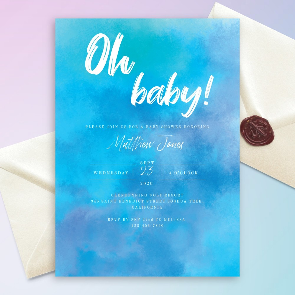 Customize and Download Aquarelle Blue Baby Shower Invitation