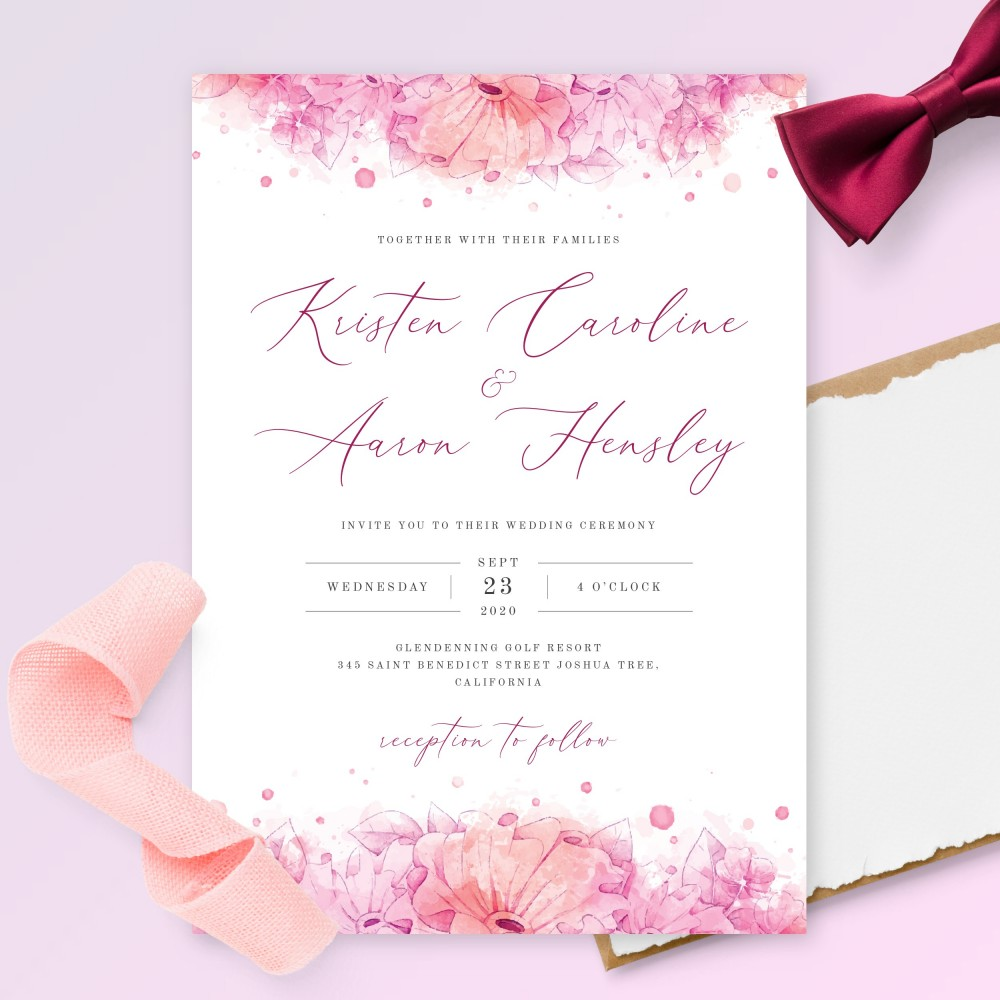 Customize and Download Aquarelle Pink Floral Wedding Invitation