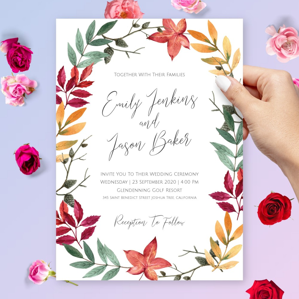Customize and Download Autumn Leaves Inspired Wedding Invitation
