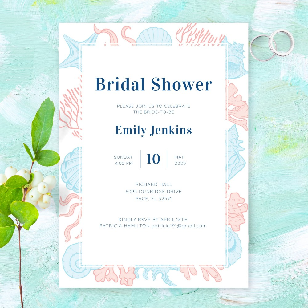 Customize and Download Beach Theme Bridal Shower Invitation