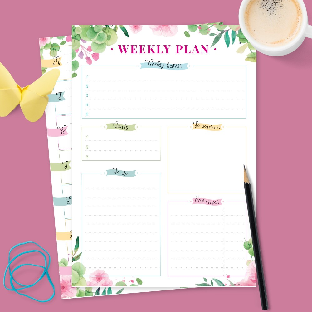 Download Printable Beautiful Botanic Weekly Planner Template