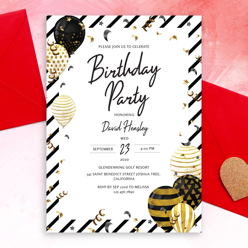 Customize and Download Black and Gold Balloons Birthday Invitation