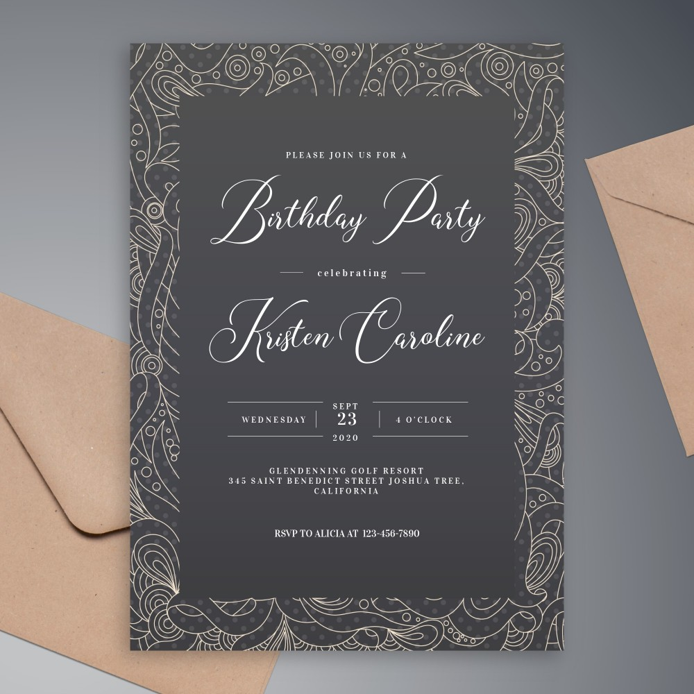 Customize and Download Black and White Pattern Birthday Invitation
