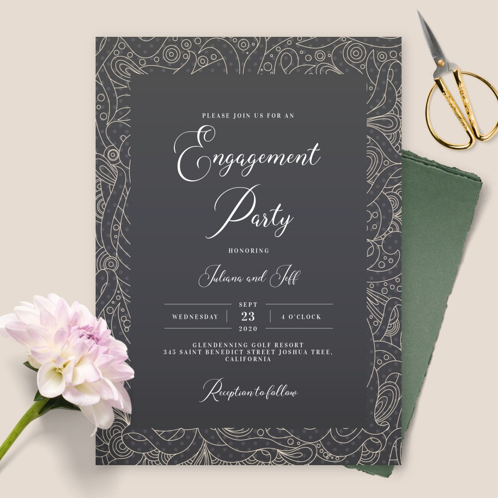 Customize and Download Black and White Pattern Engagement Party Invitation