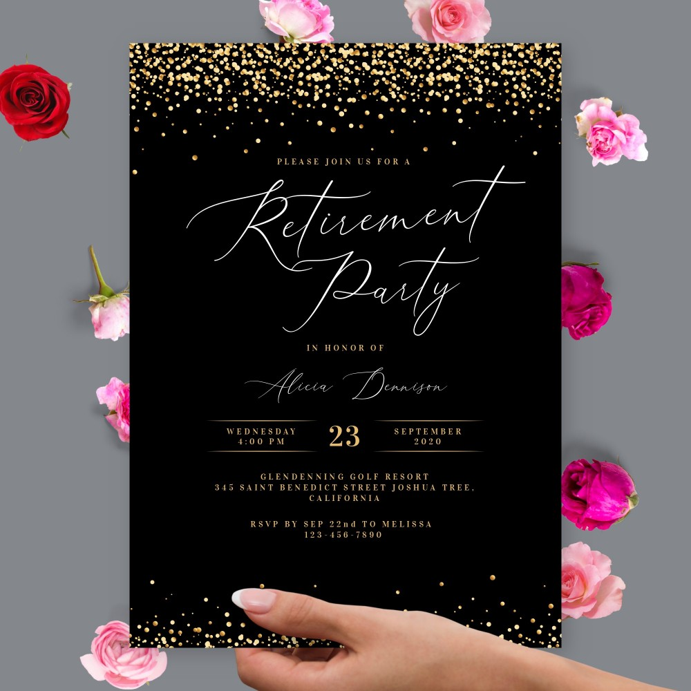 Customize and Download Black Sparkling Retirement Party Invitation