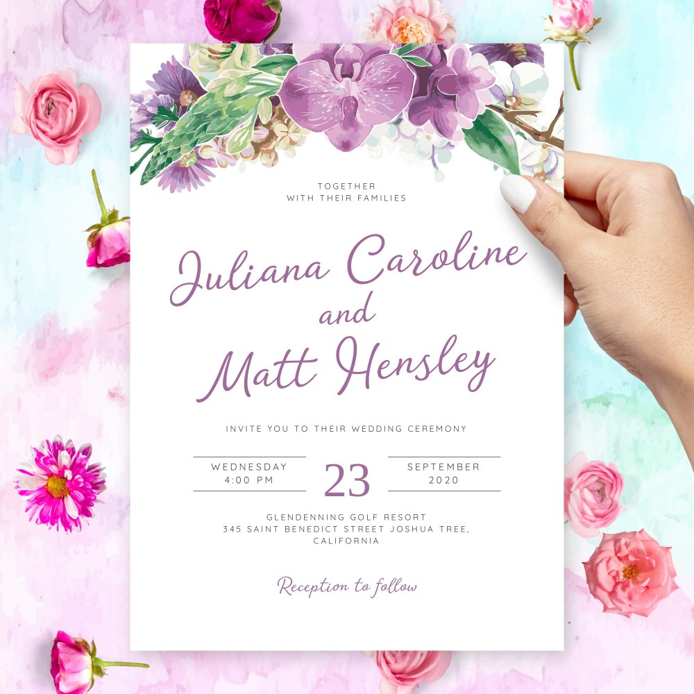 Customize and Download Blossom Spring Floral Wedding Invitation