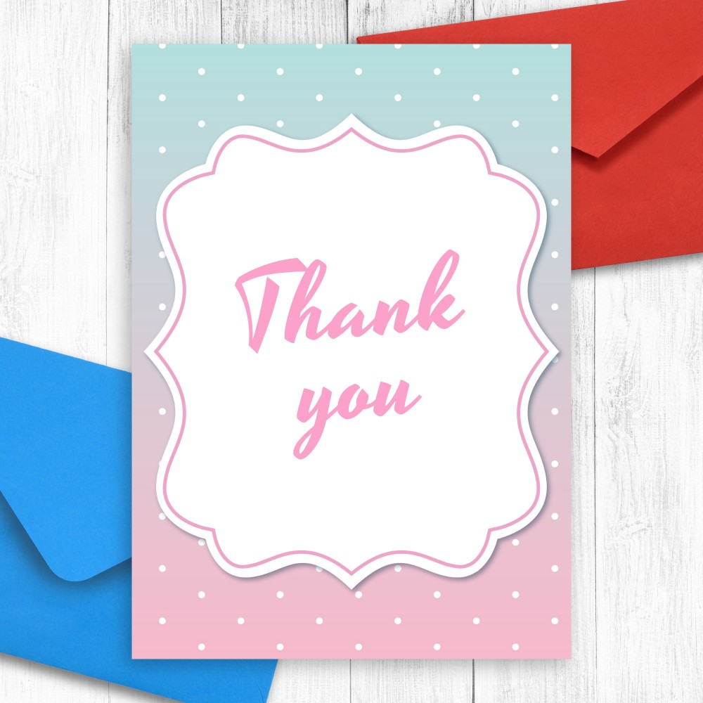 Customize and Download Blue and Pink Baby Shower Thank You  Card