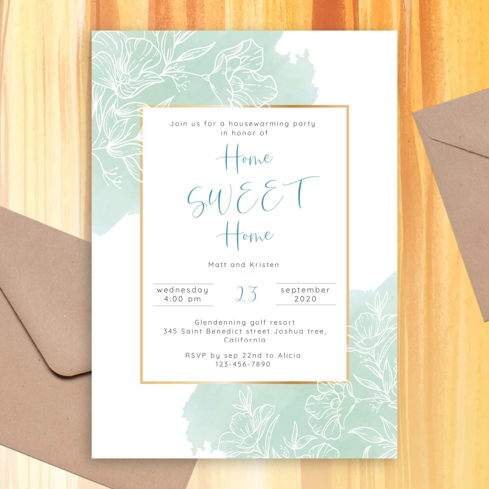 Customize and Download Blue and White Floral Housewarming Invitation