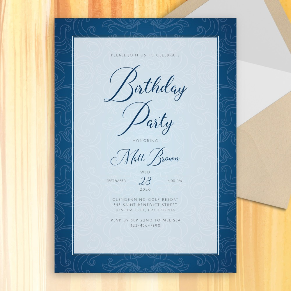 Customize and Download Blue and White Vintage Pattern Birthday Invitation