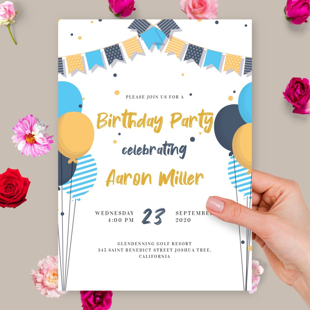 Customize and Download Blue and Yellow Balloons Birthday Invitation