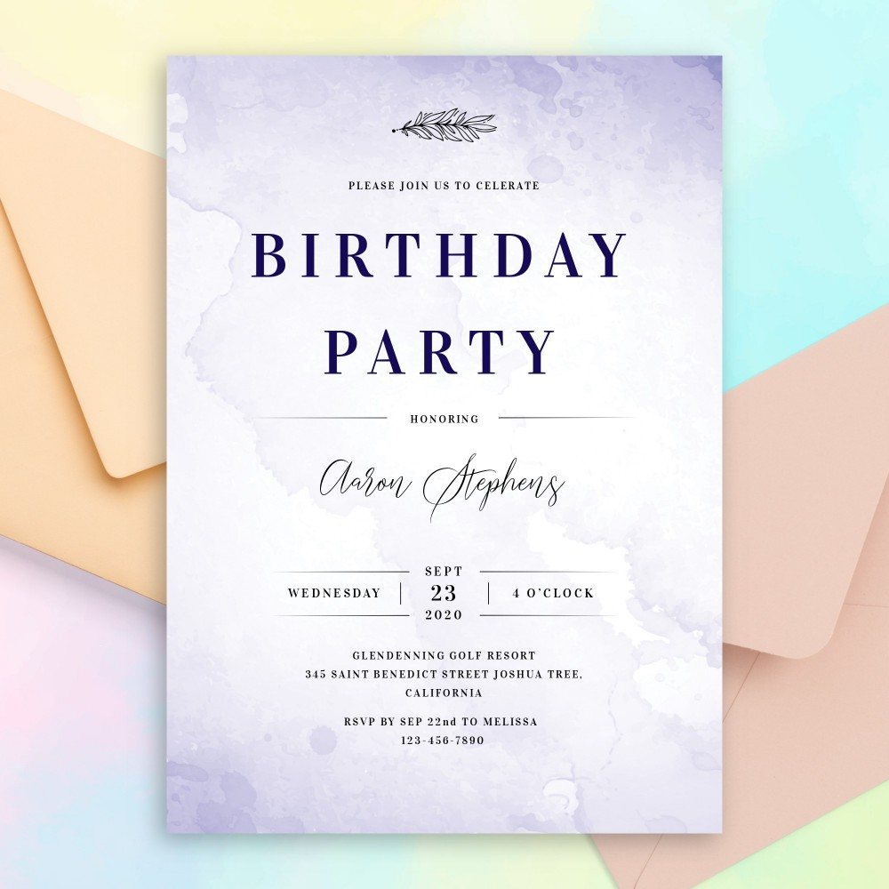 Customize and Download Blue Aquarelle Birthday Invitation