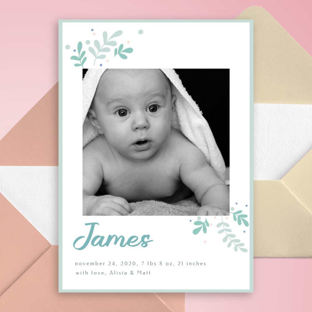Customize and Download Blue Botanical Birth Announcement Card