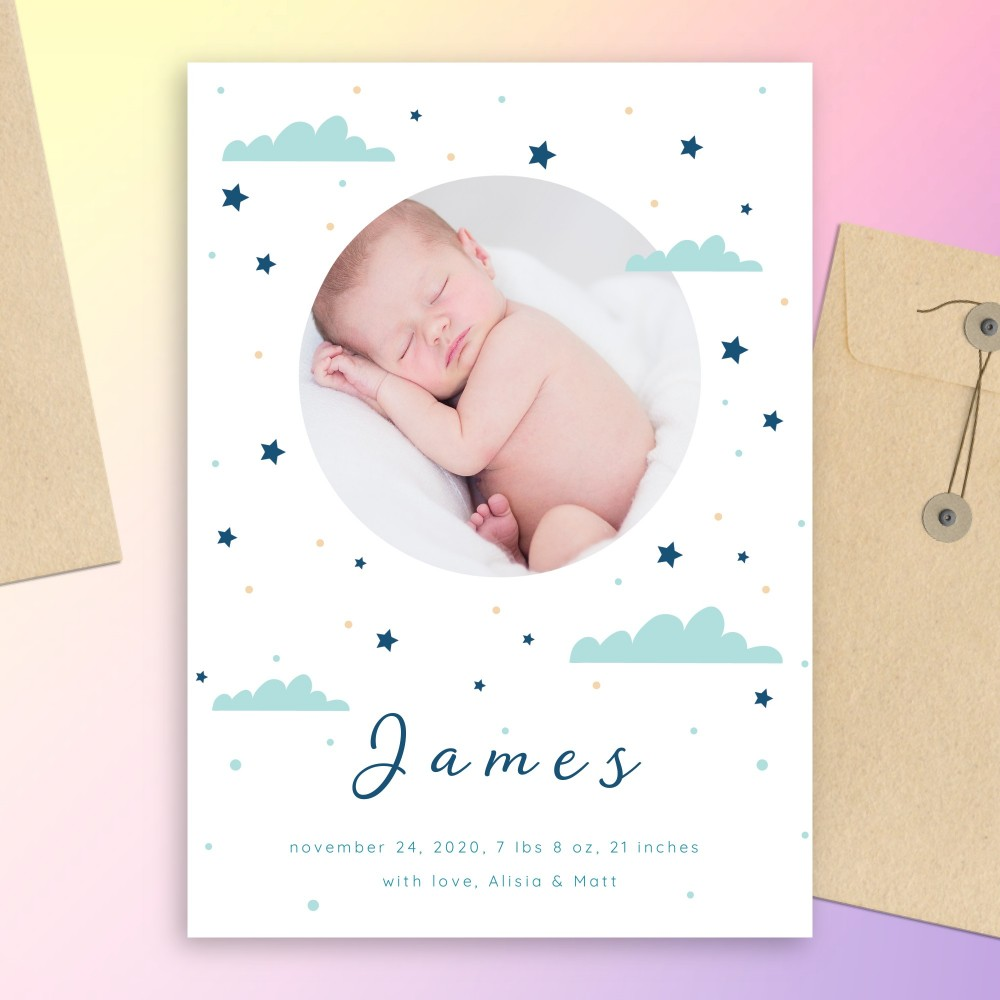 Customize and Download Blue Clouds and Stars Birth Announcement Card