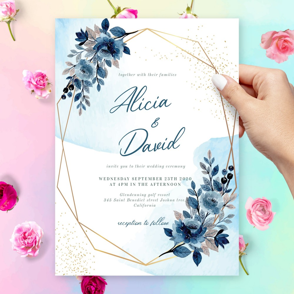 Customize and Download Blue Floral Geometric Winter Wedding Invitation