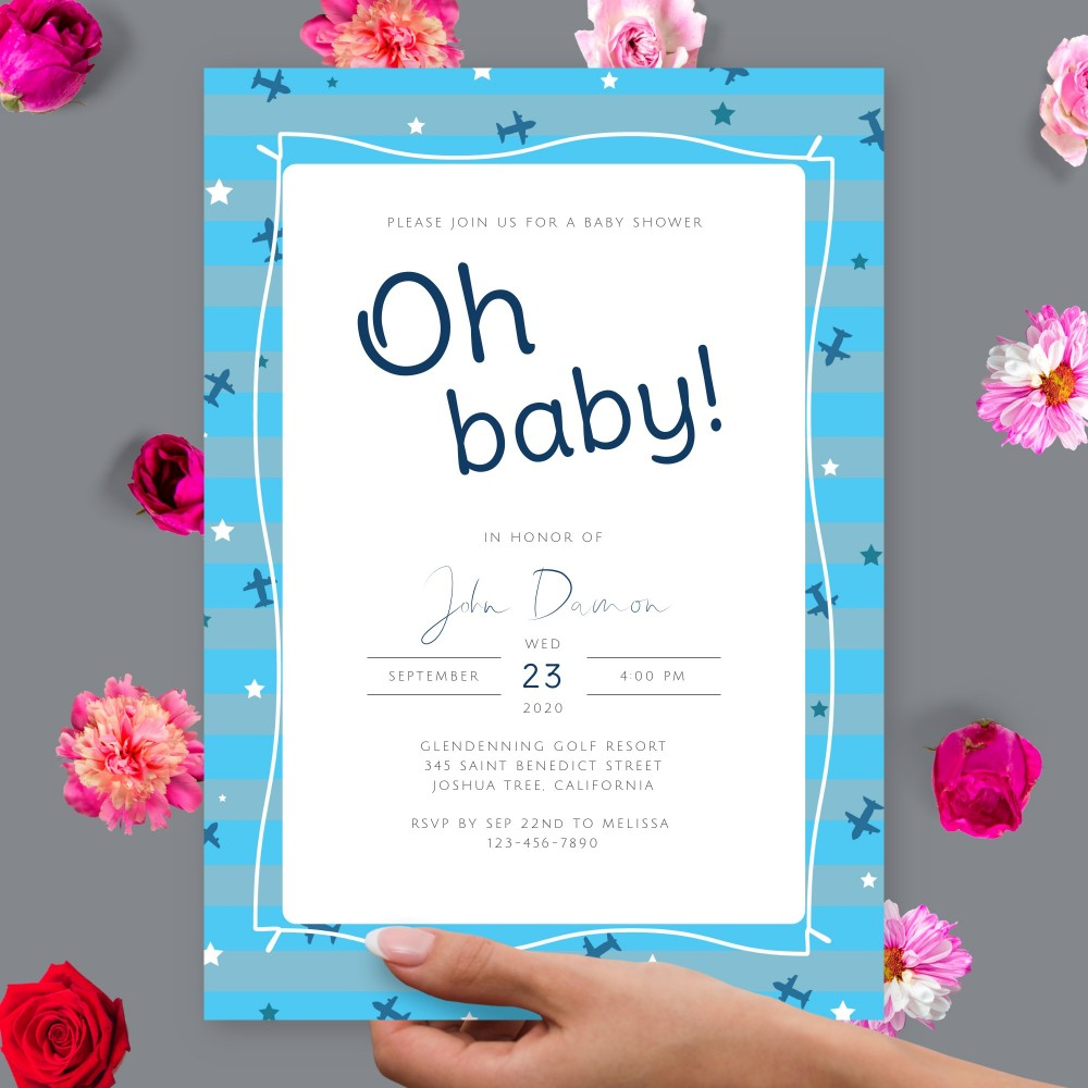 Customize and Download Blue Stripes and Airplanes Baby Shower Invitation