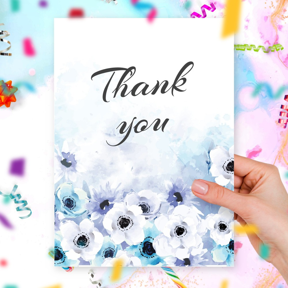 Customize and Download Blue Watercolor Flowers Thank You Card
