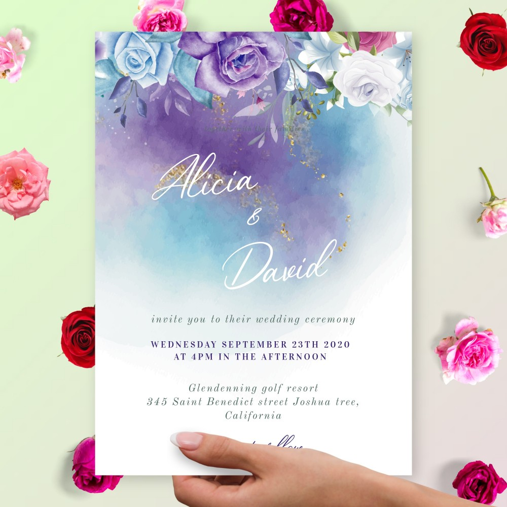 Customize and Download Blue Winter Roses Bouquet Wedding Invitation