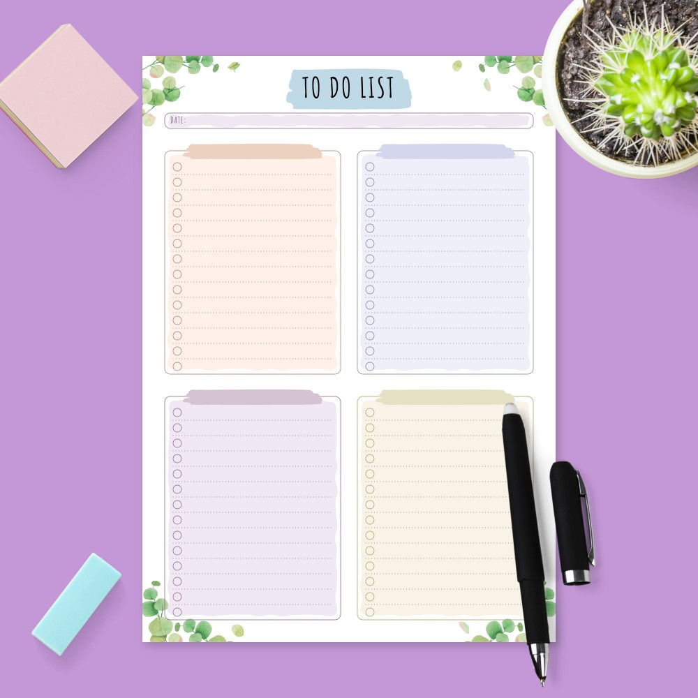 Download Printable Botanical Daily To Do List Template