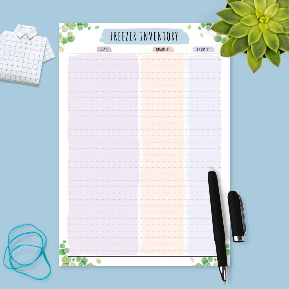 Download Printable Botanical Freezer Inventory Template