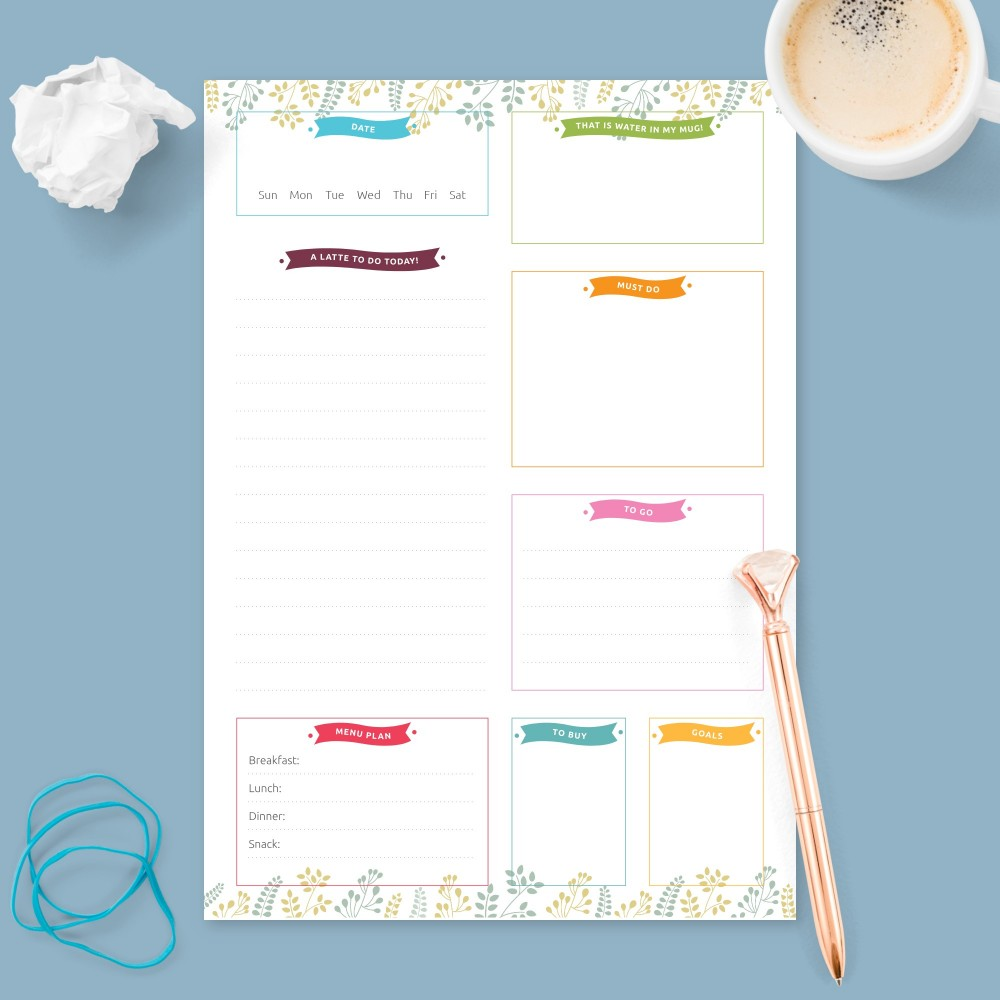 Download Printable Botanical Garden Daily Planner Undated Template