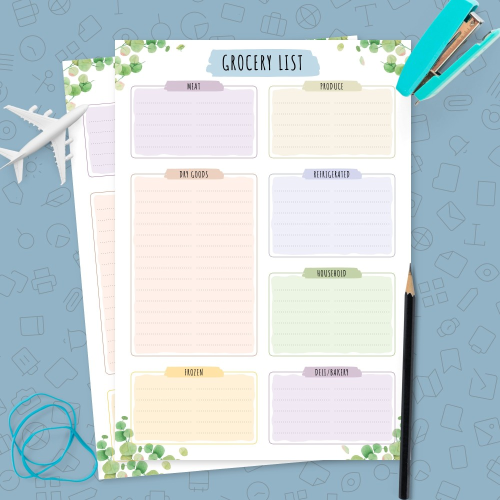 Download Printable Botanical Grocery List Template