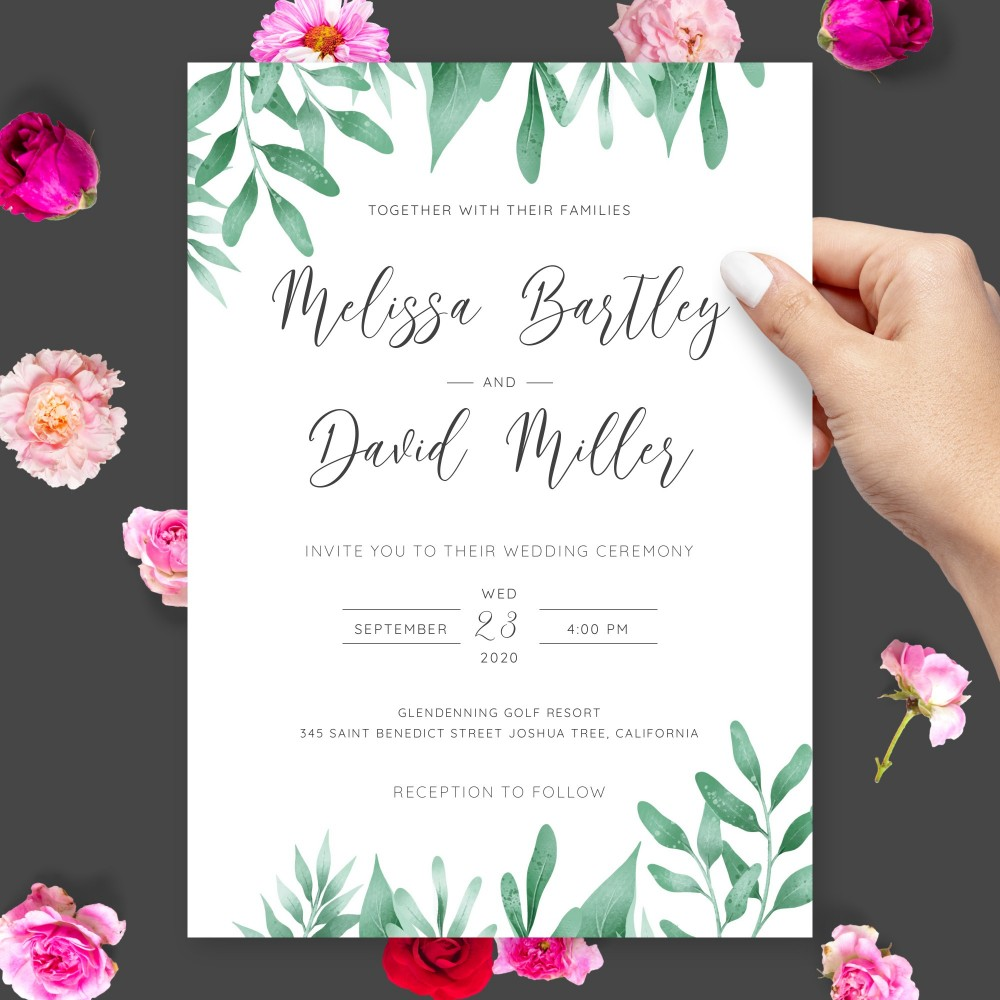 Customize and Download Botanical Watercolor Greenery Wedding Invitation