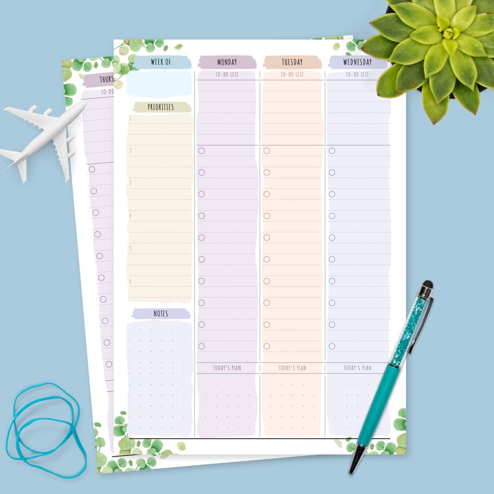 Download Printable Botanical Weekly To-Do & Priorities Template
