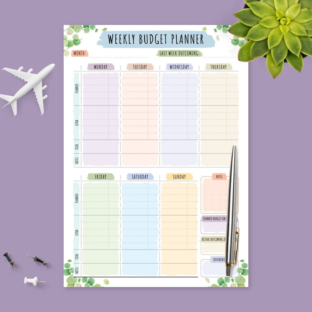 Download Printable Botanical Weekly Money Expense Tracker Template