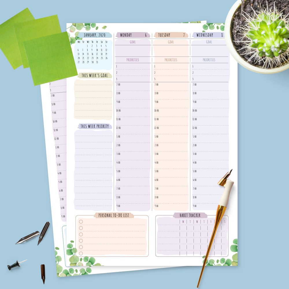Download Printable Botanical Weekly Planner Dated Template