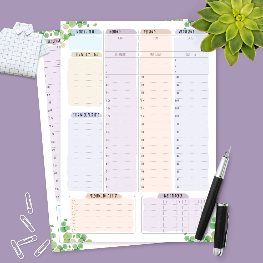 Download Printable Botanical Weekly Planner Undated Template