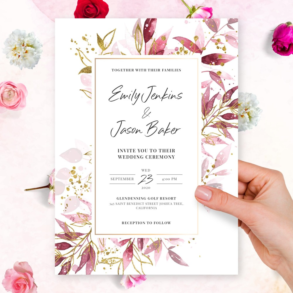 Customize and Download Burgundy and Gold Botanical Fall Wedding Invitation
