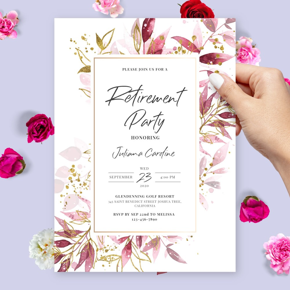 Customize and Download Burgundy and Gold Botanical Retirement Party Invitation