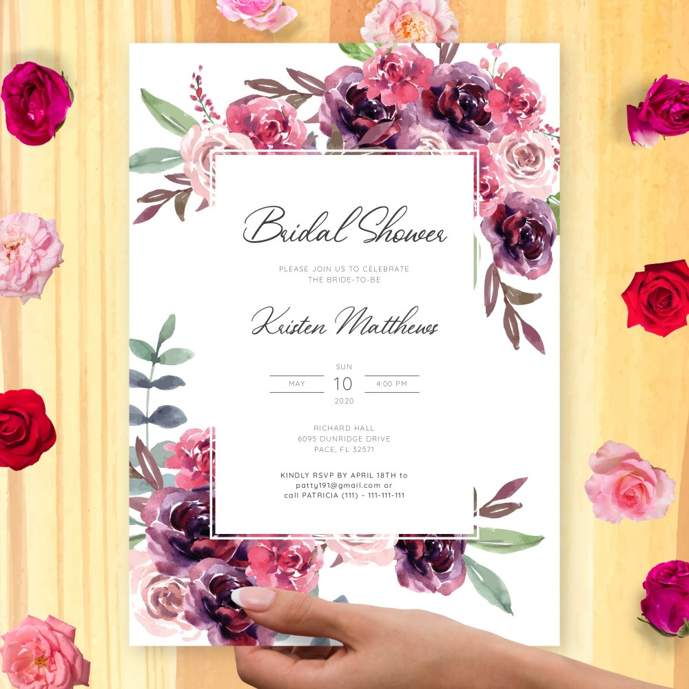 Customize and Download Burgundy Bouquet Bridal Shower Invitation