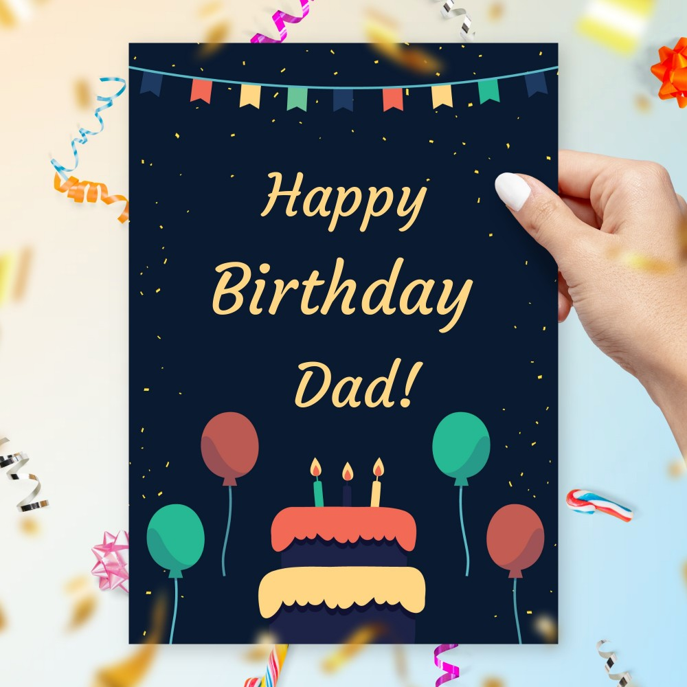 Customize and Download Cake and Balloons Birthday Card for Dad