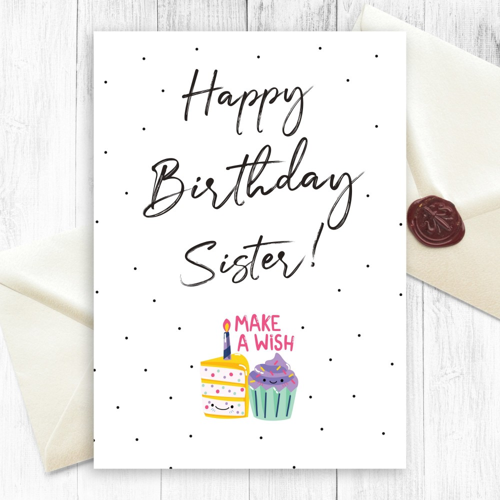 Customize and Download Cake Birthday Card For Sister