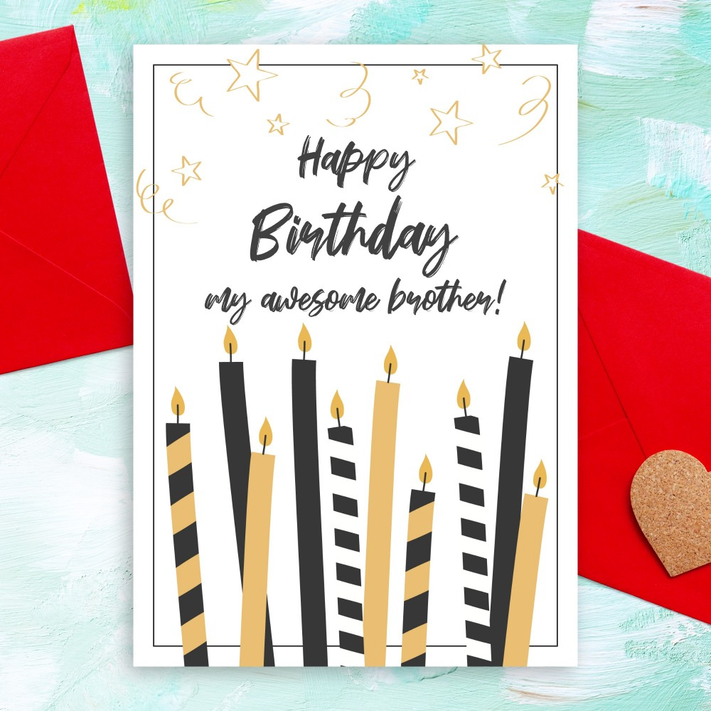 Customize and Download Candles Birthday Card For Brother