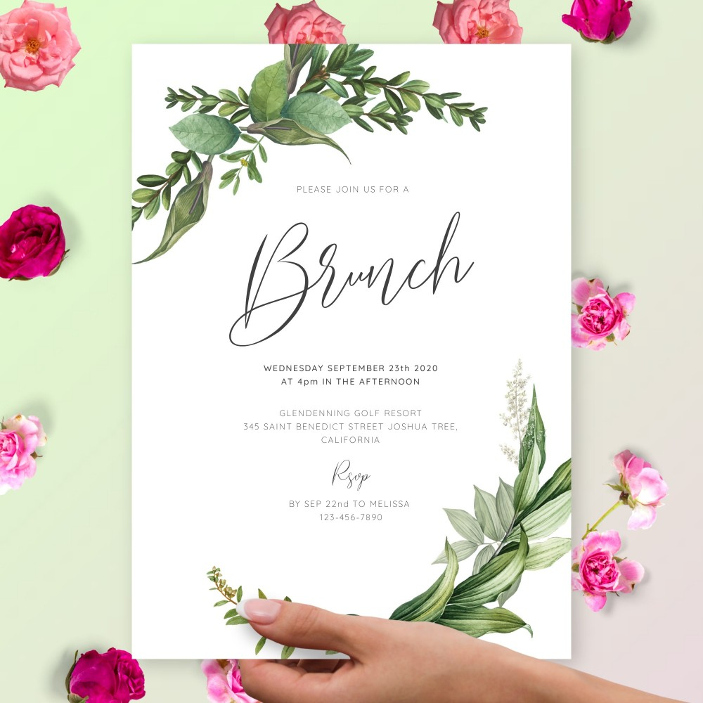 Customize and Download Classic Greenery Brunch Invitation