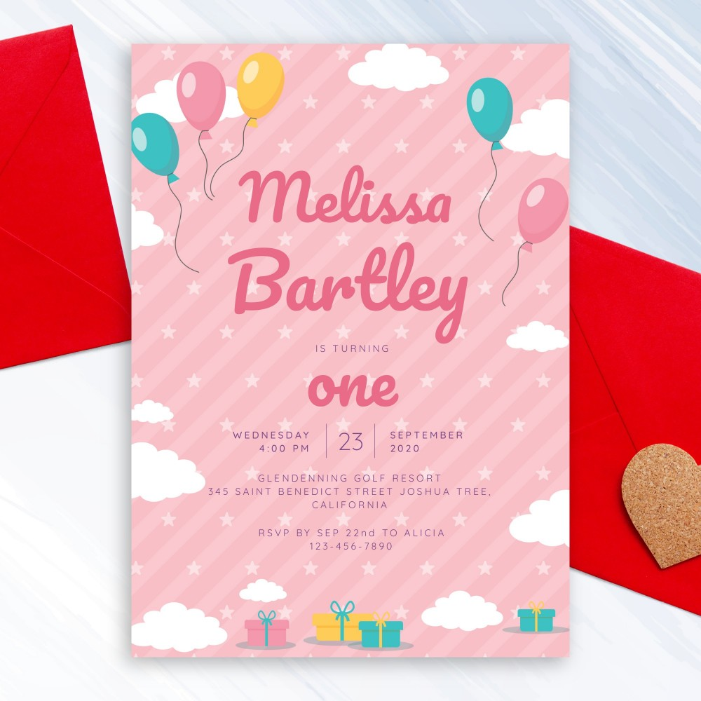 Customize and Download Clouds and Balloons Pink Baby 1st Birthday Invitation