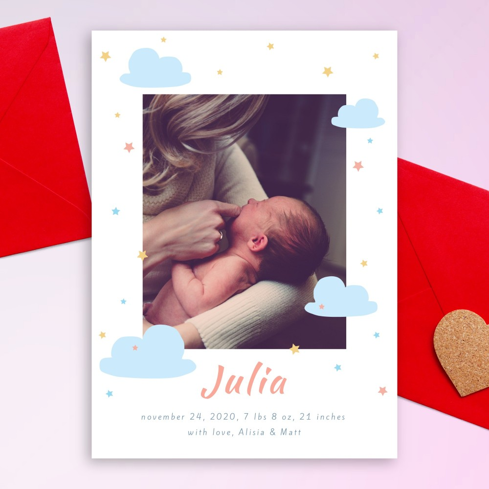 Customize and Download Clouds and Colored Stars Birth Announcement Card