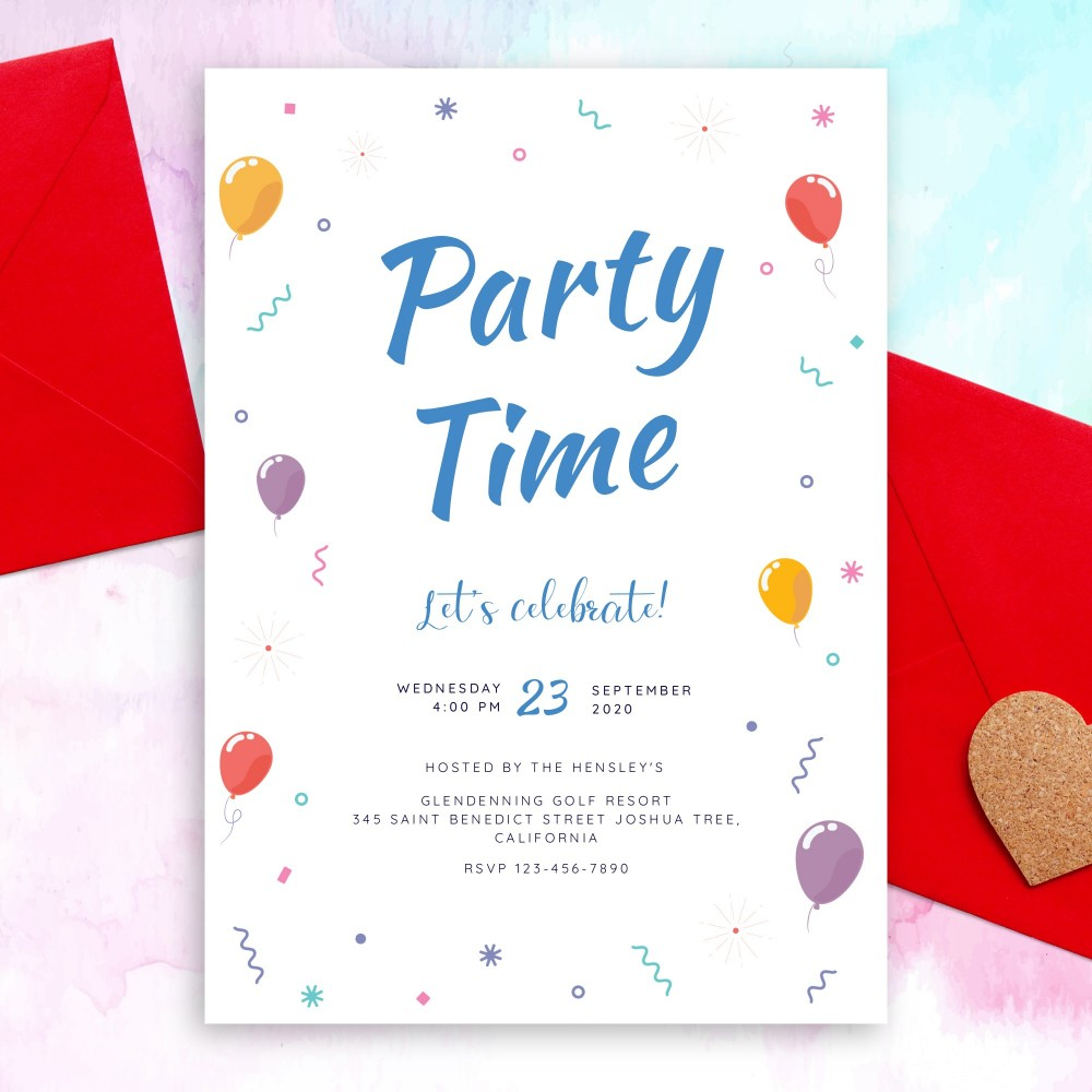 Customize and Download Colored Balloons and Confetti Party Invitation