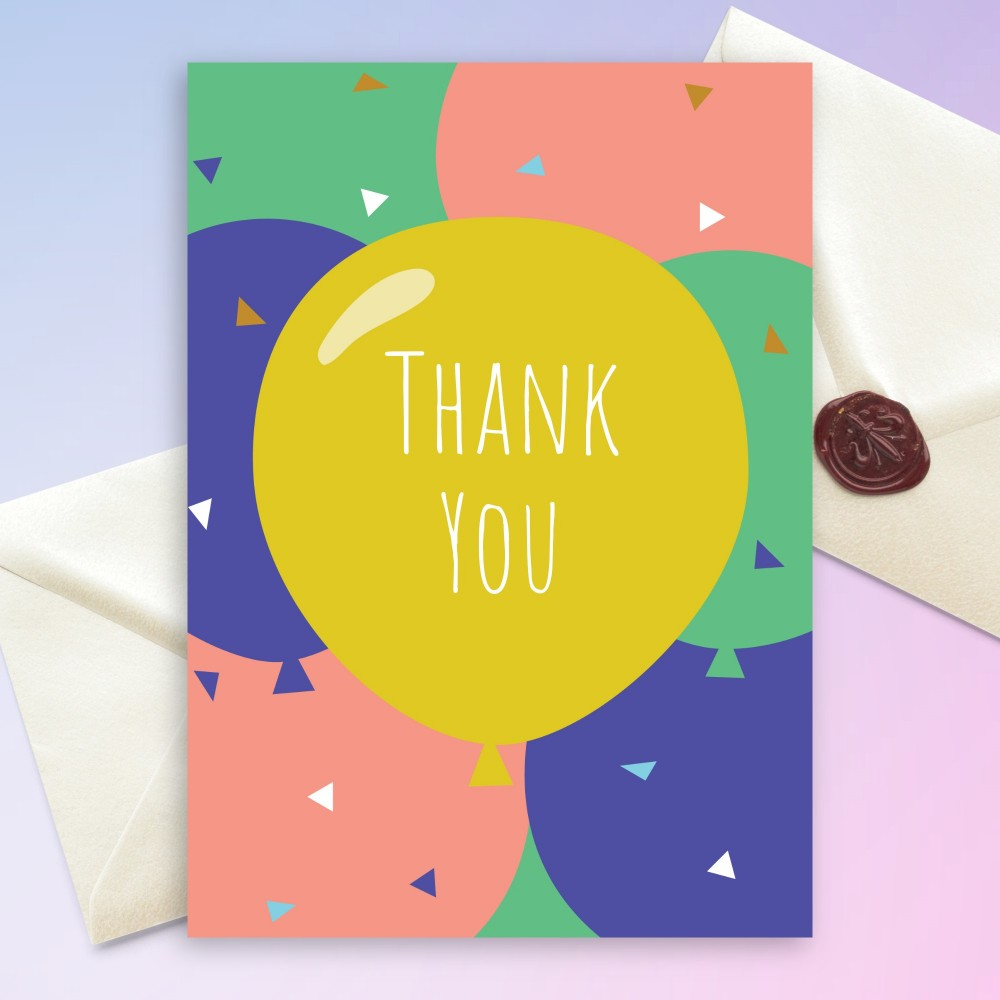 Customize and Download Colored Balloons Birthday Thank You Card