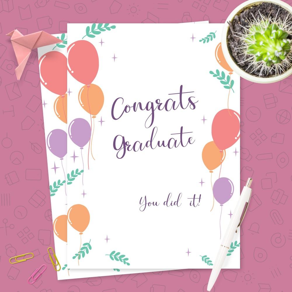 Customize and Download Colored Balloons Graduation Card