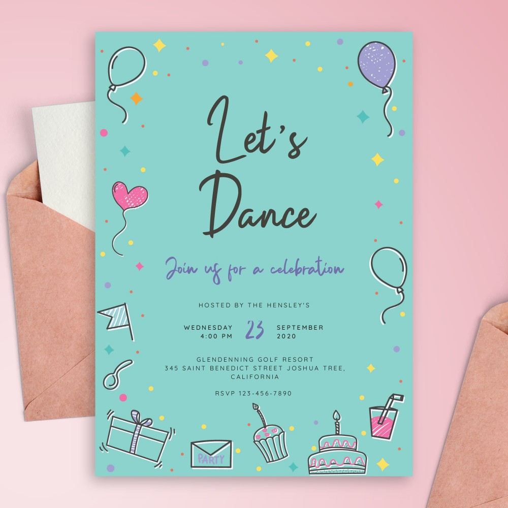 Customize and Download Colored Blue Party Invitation