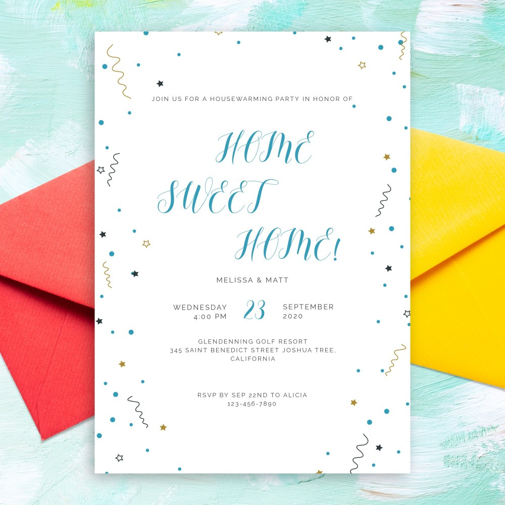 Customize and Download Colored Confetti Stars Housewarming Invitation
