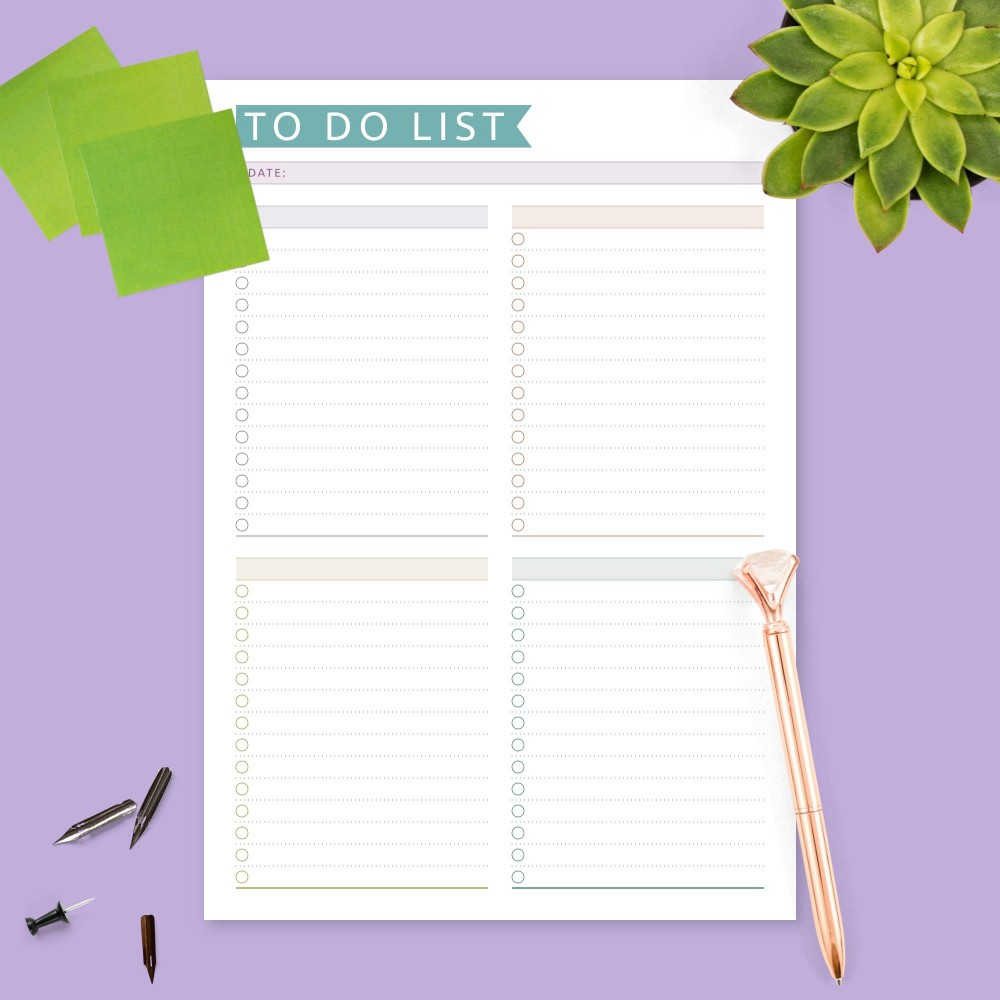 Download Printable Colored Daily To Do List Template
