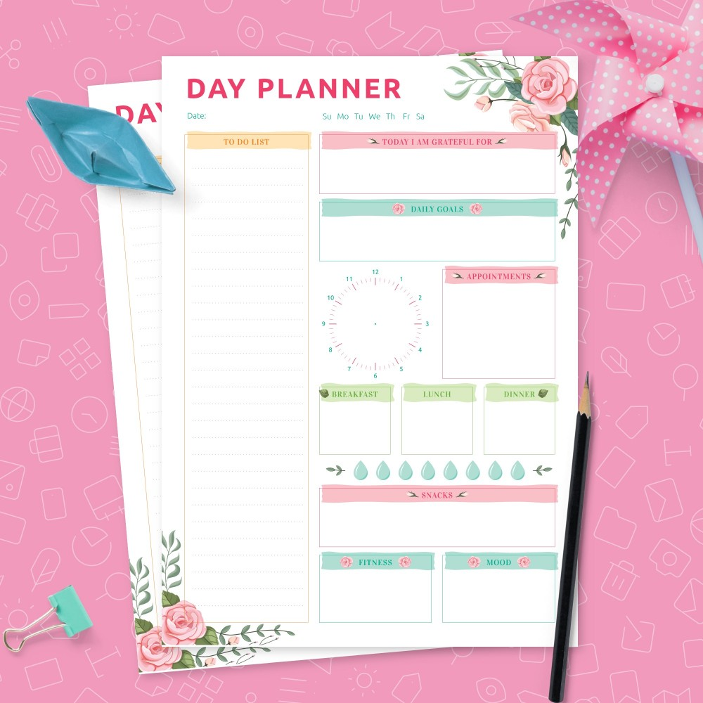 Download Printable Colored Daily Planner with To Do List and Meal Plan Template