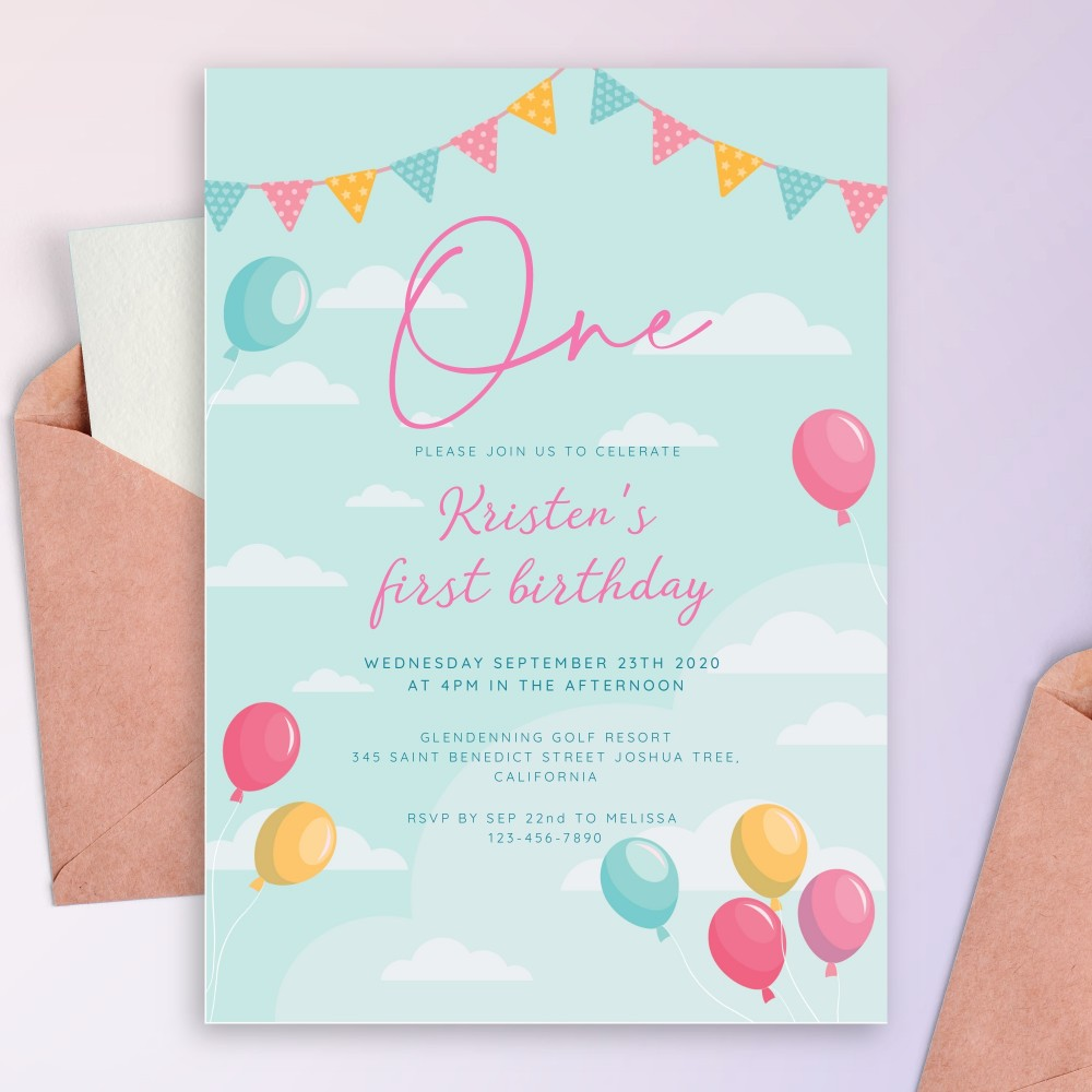 Customize and Download Colored Flag Garland Baby 1st Birthday Invitation