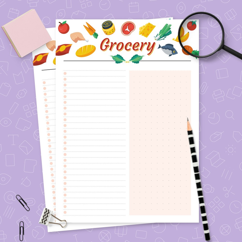 Download Printable Colored Grocery List Lined & Dotted Template