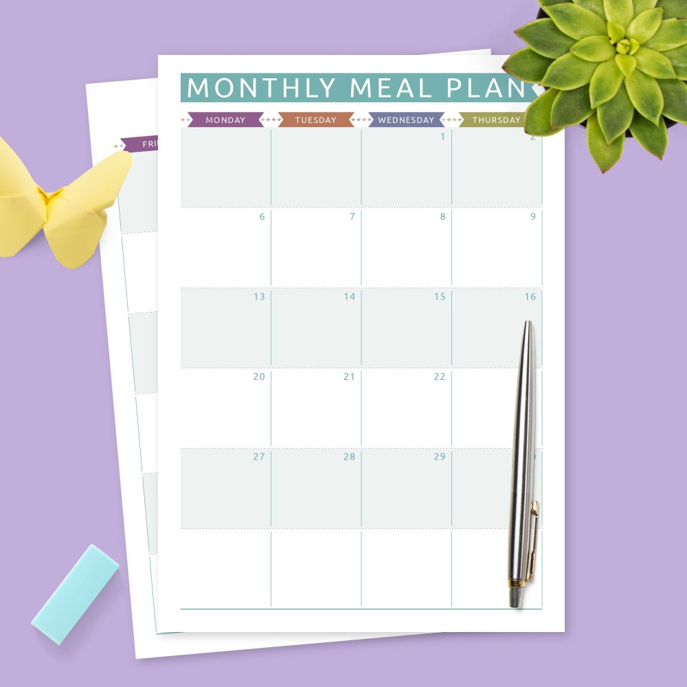 Download Printable Colored Monthly Meal Planner Template