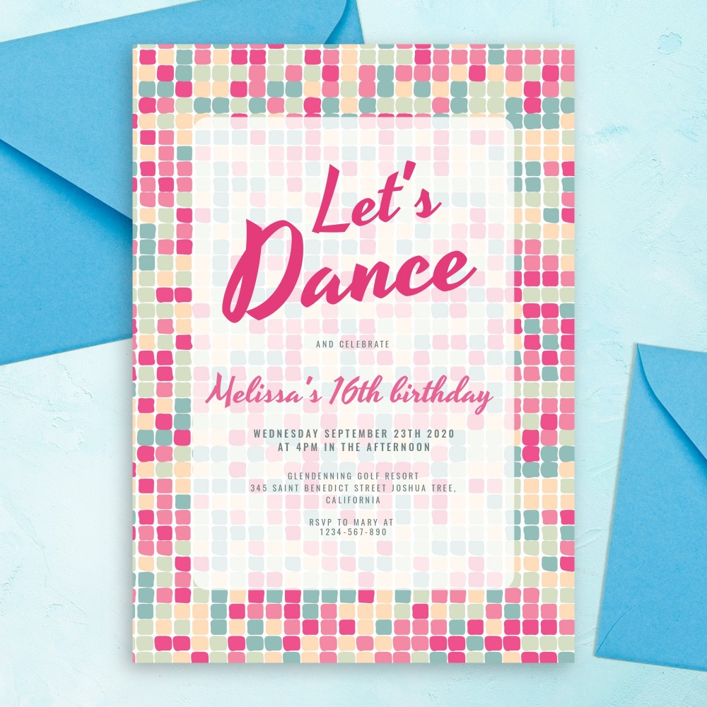 Customize and Download Colored Mosaic Pink Party Invitation